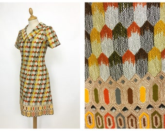 Vintage 1960s 1970s abstract print tapestry fabric mod dress - size S