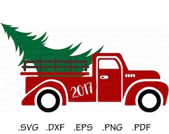 Christmas Truck SVG, Christmas Tree Truck svg, Christmas SVG, Merry Christmas SVG, Cricut Cut File, Vintage Truck, Silhouette Cut File CA465