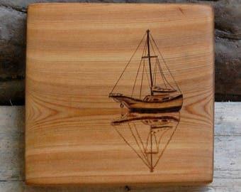 Sail Boat Cedar Wood Grain Woodburning