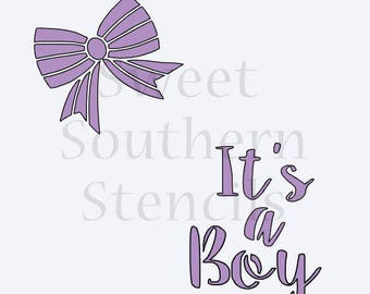It's a Boy With Bow (to fit the Audrey Plaque offered by That's a Nice Cookie Cutter) Cookie Stencil