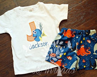 Baby- Toddler- Boys Disney Inspired Miss Fish Shirt- Personalized Shirt- Short Set- Size 6m, 12m, 18m, 2t, 3t, 4t, 5t, 6yr