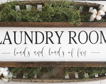 Wood sign | wooden sign | laundry room sign | Loads of fun | Farmhouse decor | laundry sign |