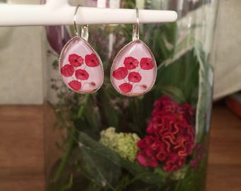 Poppy red earrings
