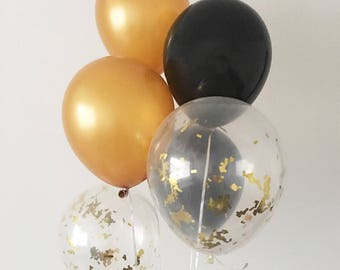 Black Gold Gold Confetti Latex Balloons Black and Gold Party Decor Graduation Party Bachelorette Partyy Black and Gold Balloons Gold Confett