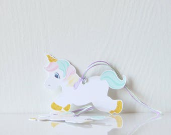 Rainbow Unicorn Tags: pastel rainbow, gift tags, unciron shaped, child birthday, kids party, present, gift decor, party decor - LRD030TG