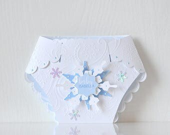 Winter Wonderland Baby Shower Diaper Invitations: seqiuns and glitter, mommy to be, parents to be, winter, blue & white, snowflakes- LRD024B