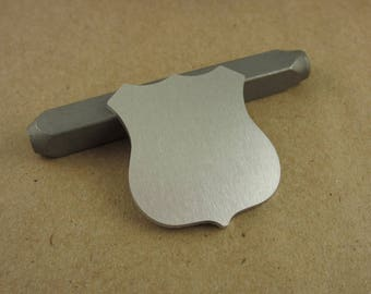 """Large 1 1/4"""" Shield Aluminum Stamping Blank, 14 Ga Thick, 1100 Aluminum, 10 Pieces"""
