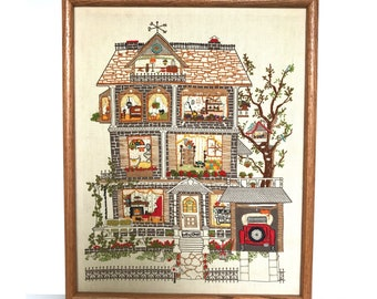 Victorian Home Needlepoint -- Home Needlepoint -- Vintage Needlepoint -- House Needlepoint -- Victorian House -- Needlepoint of House