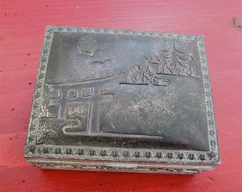 Antique Box Silver Metal Japanese Trinket Box, Hinged Lid, Wood Lined, Made in Japan Early 1900s