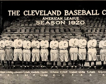 1920 Cleveland Indians Baseball Team Vintage Photo Panoramic