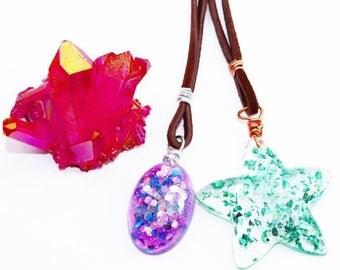 Psychedelic Necklaces, Star Necklace, Unicorn, Mermaid, Mermaid Style, Unicorn Necklace, Festival Fashion, Sparkle, Glitter, Boho Chic
