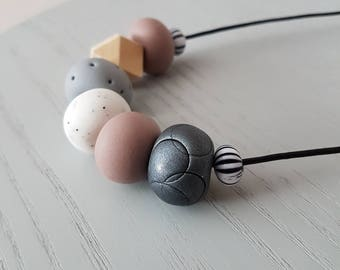 Polymer clay necklace/ white mocha and grey clay beaded necklace/ polymer clay jewellery/ beaded necklace /  birthday gift/ necklace