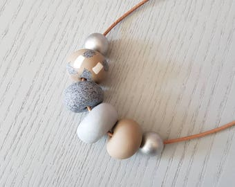 SALE Polymer clay necklace/  tan grey and granite clay beaded necklace/ polymer clay jewellery/ beaded necklace /  birthday gift/