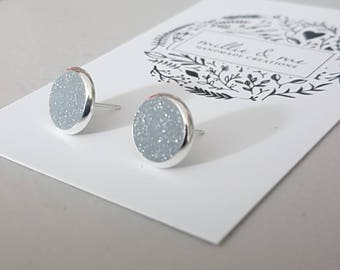 Silver and sparkly silver clay stud earrings/ silver earrings/ silver glitter / earrings/ polymer clay jewellery/ polymer clay earrings
