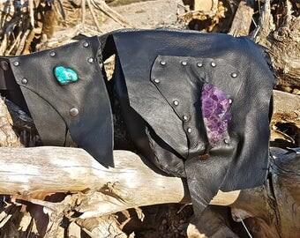 FREE SHIPPING!!! Black leather hip belt bag, boho,hippie,chic,hippy,ethnic,riñonera de piel negra,étnica