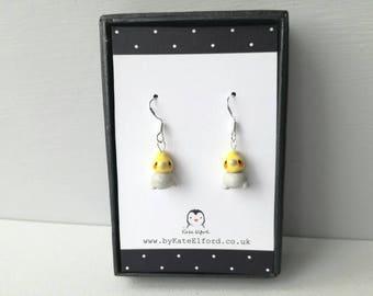 Cockatiel earrings, ceramic bird earrings, sterling silver, yellow and grey earrings, jewellery cockatiel gift