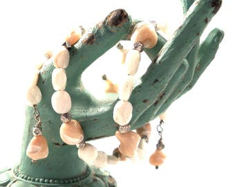 Wrap Bracelet Faceted Mother of Pearl and Shell wrap women's bracelet  / Ref.# WB1513