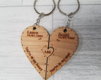 Heart puzzle piece keyring set personalised - 00160