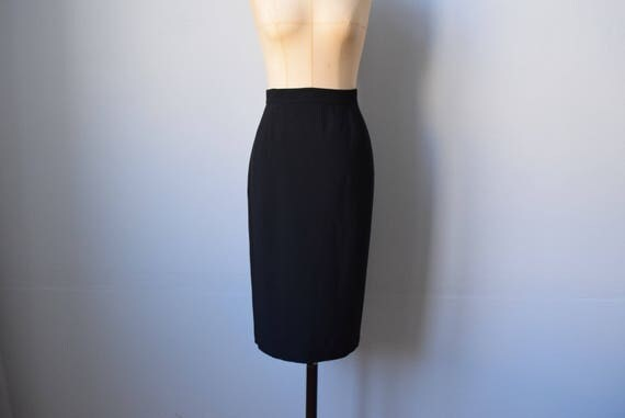 Karl Lagerfeld vintage black skirt | size 10 | rayon blend black pencil skirt