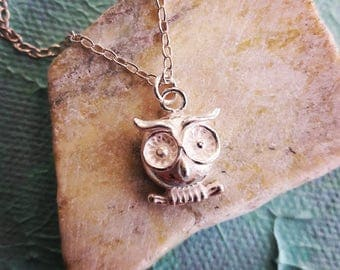 Sterling Silver Owl Necklace/gift for her