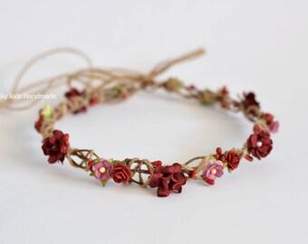 Fall rustic wedding crown - Autumn halo - Burgundy flower crown -Woodland floral crown - Autumn Wedding - Fall hair wreath - Fall halo adult
