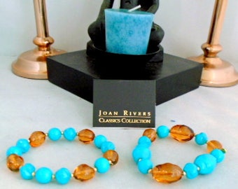 Reduced - NWT Vintage Joan Rivers Classics Sets of Bracelets - Faux Turquoise and Amber Glass Beads - Wear them with our JRivers Necklace
