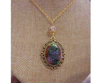 Vintage necklace gold, glitter galaxy cabochon