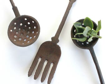 Cast Iron Fork and Spoons Set, Rustic Kitchen Decor