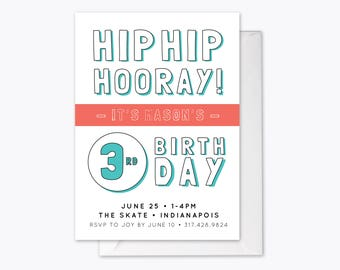 Hip Hip Hooray Kid's Birthday Party Invitation Printable
