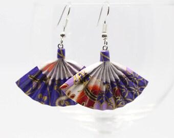 Fan earrings violet Origami, Japanese paper