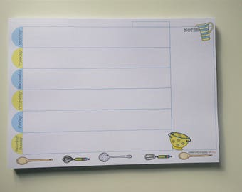Weekly Planner Tear Off Pad, Undated, Kitchen Themed