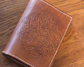 Embossed leather sketchbook