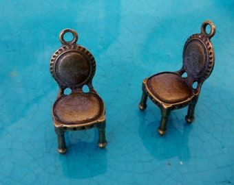 2 3 D old antique chairs bronze plated charms cameo cabochon pendants earrings necklaces jewellery making charms