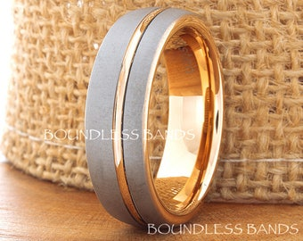 Tungsten Rose Gold  Plated Wedding Band Ring 7mm 18K Wedding Band Male Women Custom Laser Engraving Anniversary Handmade Grooved Mens Ring