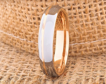 Tungsten Ring Rose Gold Wedding Band Ring Tungsten Carbide 5mm 18K Tungsten Ring Man Wedding Band Men Women Anniversary Matching Ring Dome