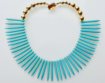 Turquoise Howlite Spike Statement Necklace