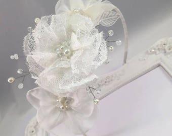 Ivory bridal silk flower headband