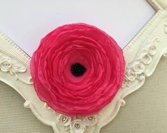 Fleur Coquelicot silk deep pink brooch
