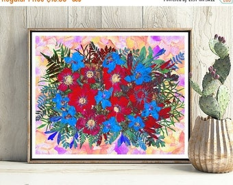 ON SALE Giclee Print, Red, Blue, Flowers Print, Wall Art, Floral, Flowers, Home Decor, Digital Download, Flower, 16x20, Botanical Print, Dry