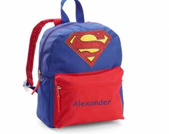 "Personalized Superman Mini Backpack - 12"""