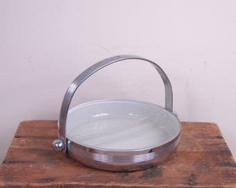 Vintage Chase USA Art Deco Style Divided Chrome Candy Dish w/ Frosted Glass Insert & Handle