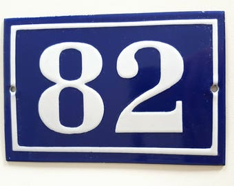 Old French enamel house number SIGN Door street address gate PLATE PLAQUE Enamel steel metal 82 Blue