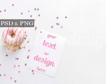 Donuts Sugar Hearts Mockup Styled Stock Photography White Desktop Invitation Mockup Vertical Card Digital Product Photography Background