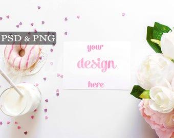 Peony Donuts Stationery Mockup Styled Stock Photography White Desktop Invitation Mock up Horizontal Card Digital Design Background