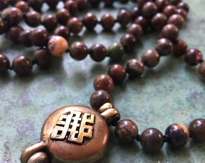 108 Bead Handknotted Spiritual Junkies Ocean Jasper + Tibetan Prayer Box Yoga and Meditation Mala
