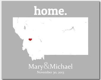 Anniversary Gift For Husband Man, Montana Map Art, 67th Anniversary Gift, Birthday Gift For Mother In Law, Custom Map - Any State Or Country
