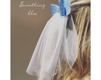 Bachelorette Sparkle Bow with Veil Haircomb