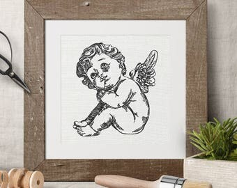 Machine Embroidery Design Cupid little baby