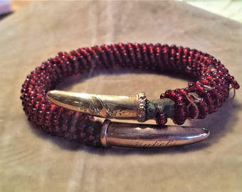 Gold Filled, Red Glass Beaded Bracelet