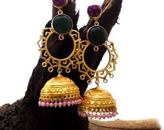 Gold plated earring,jhumka earring,pink beaded earring,fashion earring,designer earring,long earring,indian earring,stylish earring